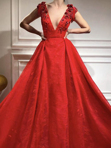 A-line V neck Long Prom Dress Lace Red Cheap Long Prom Dresses Evening Dress AMY1414