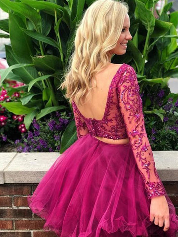 A-line Two Pieces Scoop Fuchsia Short Prom Dress Lace Long Sleeve Homecoming Dress|Amyprom