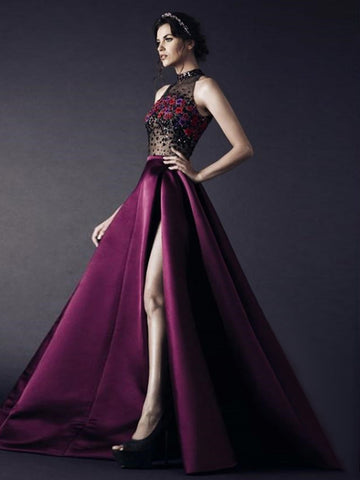 A-line High Neck Long Prom Dress With Slit Grape Beading Modest Long Prom Dresses Evening Dress AMY1427