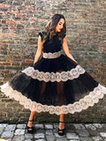 A-line Scoop Black Lace Tea Length Prom Dress Evening Dress|Amyprom