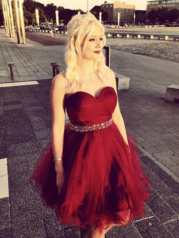 A-line Short Prom Dress Sweetheart Burgundy Short Prom Dresses Cheap Homecoming Dress|Amyprom