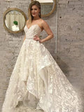 A-line Sweetheart Lace Gorgeous Wedding Dress Floor Length Modest Bride Gowns|Amyprom
