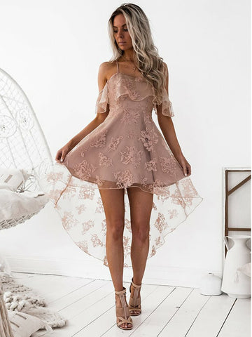 A-line Spaghetti Straps High Low Prom Dress Lace Pink Cocktail Dress Homecoming Dress AMY1436