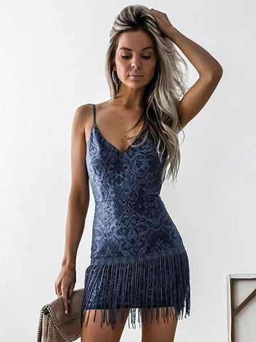 Sheath/Column Spaghetti Straps Short/Mini Prom Dress Lace Cocktail Dress Homecoming Dress AMY1437