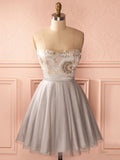 A-line Sweetheart Short Prom Dress Cheap Silver Homecoming Dress AMY1443