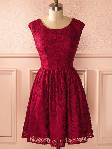 A-line Scoop Short/Mini Prom Dress Burgundy Lace Cocktail Dress Homecoming Dress AMY1444