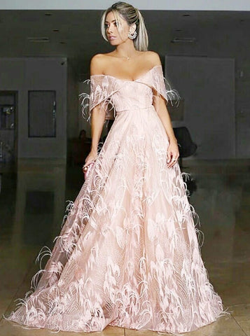 A-line Off-the-shoulder Long Prom Dress With Lace Pink Modest Long Prom Dresses Evening Dress AMY1445