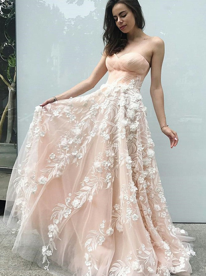 A-line Sweetheart Long Prom Dress With Lace Floor Length Prom Dresses Evening Dress|Amyprom
