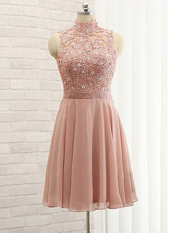 A-line High Neck Short Prom Dress Pink Lace Short Prom Dresses Cheap Homecoming Dress|Amyprom