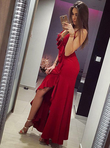 A-line Spaghetti Straps Long Prom Dress Simple Custom Made Red Prom Dresses Evening Dress|Amyprom