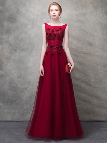 2018 A-line Prom Dresses Red Scoop Floor-length Applique Prom Dress Evening Dress AMY145
