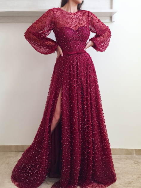 A-line Scoop Long Prom Dress With Slit Burgundy Modest Long Prom Dresses Evening Dress AMY1460