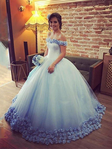 Ball Gown Off-the-shoulder Long Prom Dress With Lace Blue Modest Long Evening Dress Wedding Dresses AMY1462