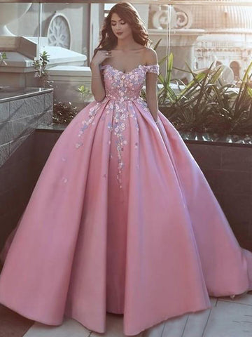Ball Gowns Off-the-shoulder Long Prom Dress Sweep/Brush Train Pink Prom Dresses Evening Dress|Amyprom