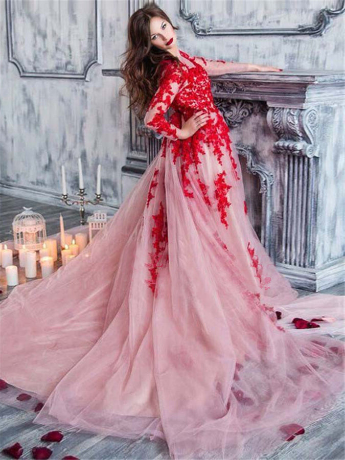 A-line Scoop Long Sleeve Prom Dress Red Applique Lace Prom Dresses Evening Dress|Amyprom
