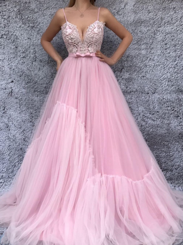 A-line Pink Spaghetti Straps Long Prom Dress With Lace Modest Long Prom Dress Evening Dresses|Amyprom
