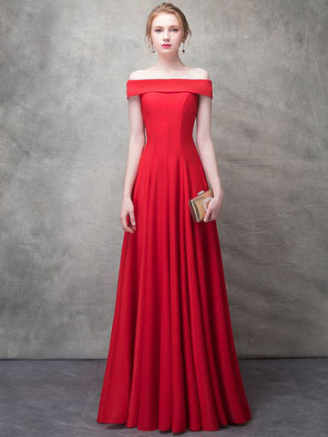 2018 A-line Prom Dresses Red Off Shoulder Simple Floor-length Prom Dress Evening Dress AMY146