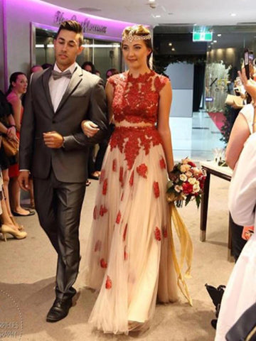 Two Pieces A-line Scoop Floor-length Red Prom Dress With Appliques Evening Dress AMY1470