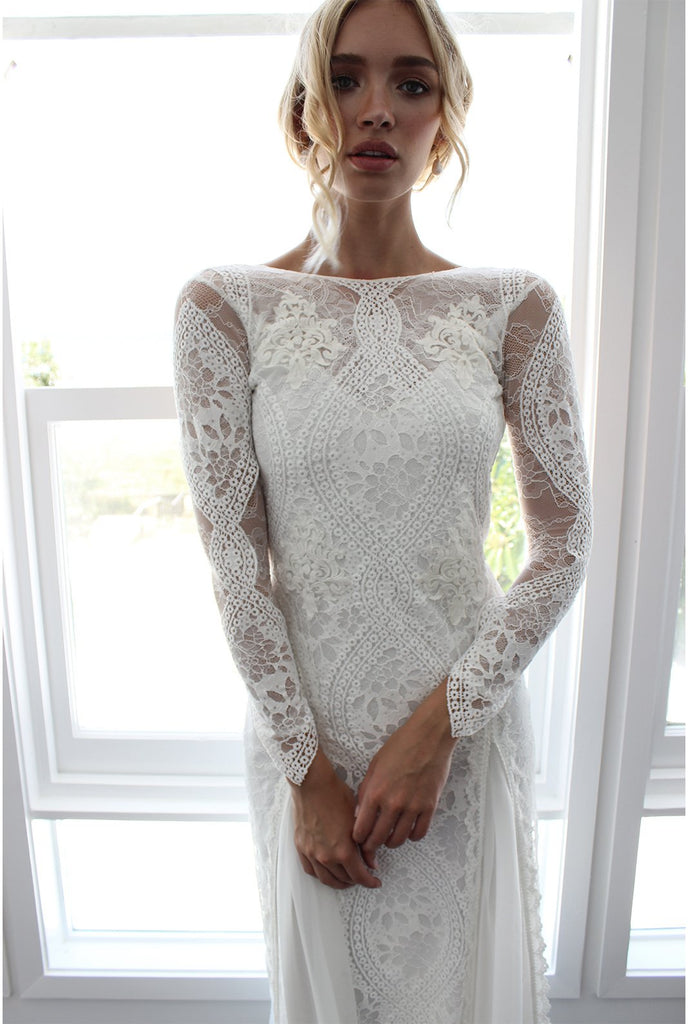 6fc86082485 ... Sheath Column Bateau Lace Wedding Dress With Long Sleeve Open Back  Wedding Dress AMY1472 ...