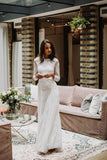 Sheath/Column Bateau Lace Wedding Dress With Long Sleeve Open Back Wedding Dress AMY1472