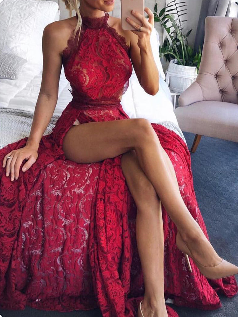 A-line High Neck Long Prom Dress Red Sexy Lace Long Prom Dresses With Slit Evening Dress|Amyprom