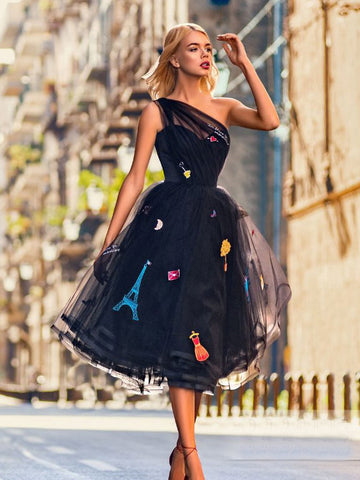 A-line One Shoulder Tea Length Prom Dress Dark Navy Homecoming Dress AMY1479