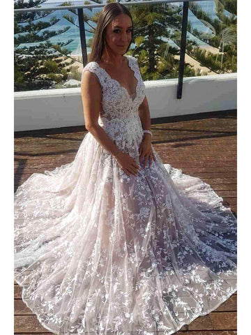 A-line V neck Lace Gorgeous Wedding Dress Floor Length Modest Bride Gowns|Amyprom