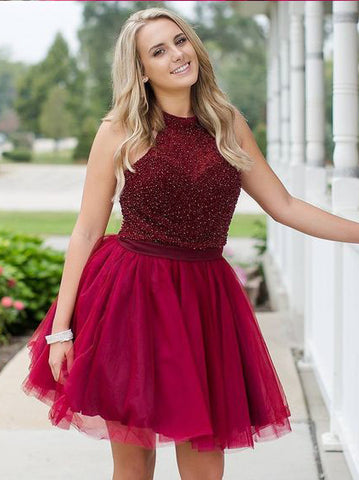A-line Scoop Short Prom Dress With Beading Burgunsy Homecoming Dress AMY1485