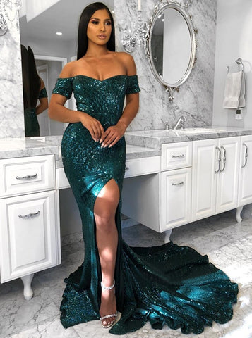 Trumpet/Mermaid Off-the-shoulder Sweep/Brush Train Dark Green Prom Dress Evening Dress|Amyprom