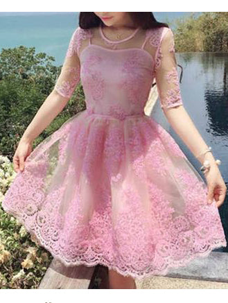 A-line Scoop Short Prom Dress Half Sleeve With Lace Pink Homecoming Dress AMY1492