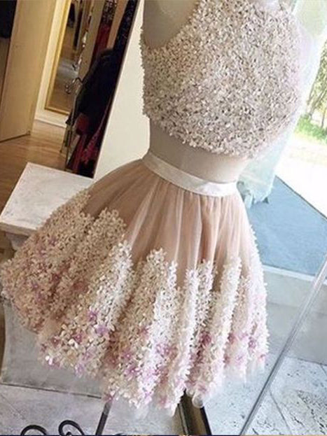 Two Pieces A-line Scoop Short/Mini Prom Dress Lace Short Prom Dresses Homecoming Dress AMY1496
