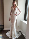 Trumpet/Mermaid V neck Gorgeous Wedding Dress With Long Sleeve Lace Modest Bride Gowns|Amyprom