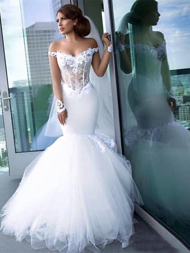 Mermaid Off the Shoulder Sheer Long Sleeve Wedding Dresses 2018 Sexy Bride  Gowns 74173e1f1794