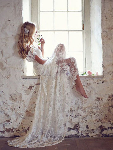 Open Back with Vintage Lace Wedding Dresses