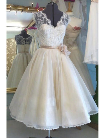 Cheap 2018 A Line Organza Short Lace Wedding Dresses / Bridal Gowns Wedding Gowns AMY1510