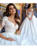 2018 Luxury Vintage Wedding Dresses A Line Sweetheart 1/2 Long Sleeve Sweep Train Bridal Gowns|Amyprom