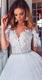 Lace Wedding Dresses Cap Sleeves Ivory Lace Plus Size Bridal Gowns Button Wedding Gowns|Amyprom