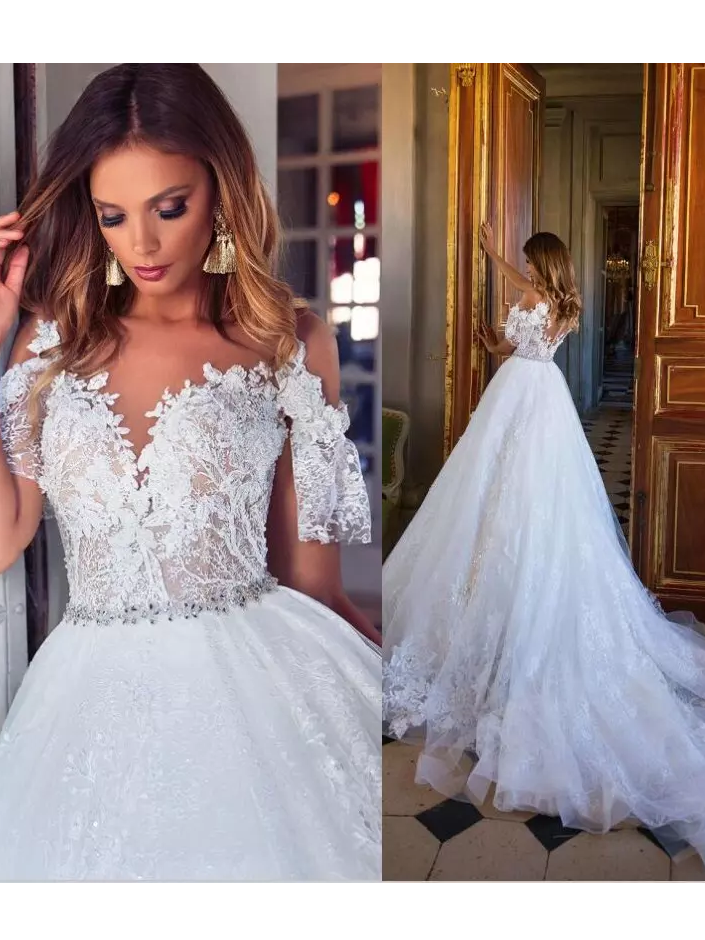 Lace Wedding Dresses Cap Sleeves Ivory Lace Plus Size Bridal Gowns Button  Wedding Gowns AMY1513