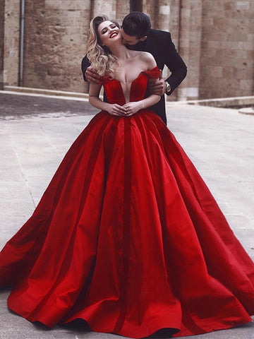 Glamorous Off-the-Shoulder Prom Dress Evening Dress 2018 Red Long Prom Dresses|Amyprom