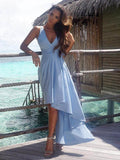 A-line Asymmetrical Sleeveless V-Neck Chiffon Blue Asymmetrical Prom Dresses Evening Dress|Amyprom