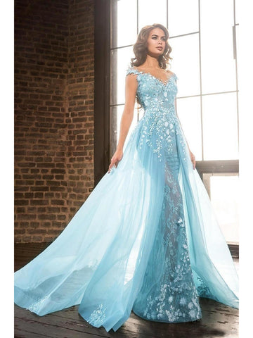 Trumpet/Mermaid Scoop Floor Length Long Prom Dress Tulle Applique Modest Evening Dress|Amyprom