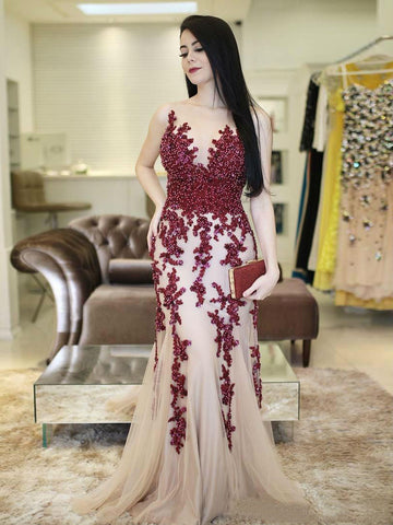 Trumpet/Mermaid Scoop Floor Length Long Prom Dress Tulle Applique Beading Evening Dress|Amyprom