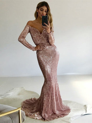 Trumpet/Mermaid Off-the-shoulder Floor Length Long Sleeve Prom Dress Sequins Evening Dress|Amyprom