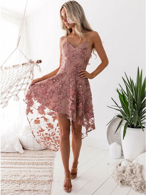 A-line Spaghetti Straps Asymmetrical Prom Dress Pink Lace Cheap Homecoming Dress AMY1538
