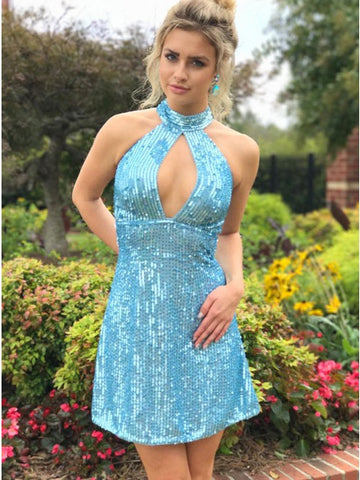 Sheath/Column High Neck Short Prom Dress With Sequins Cheap Blue Homecoming Dress AMY1540