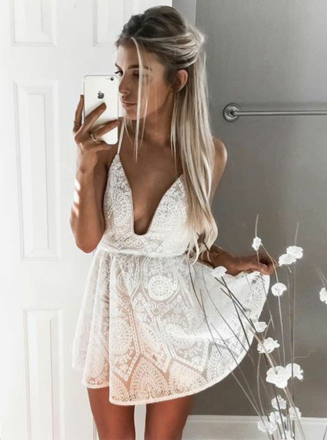 A-line Spaghetti Straps Short Prom Dress With Lace White Homecoming Dress|Amyprom