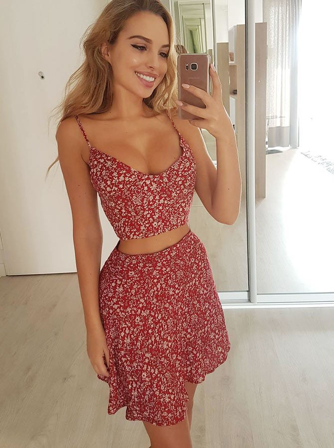 Two Piece A-line Spaghetti Straps Short/Mini Red Homecoming Dress|Amyprom