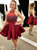 A-Line Halter Backless Short Wine Homecoming Dress with Beading Pleats Burgundy Homecoming Dress|Amyprom