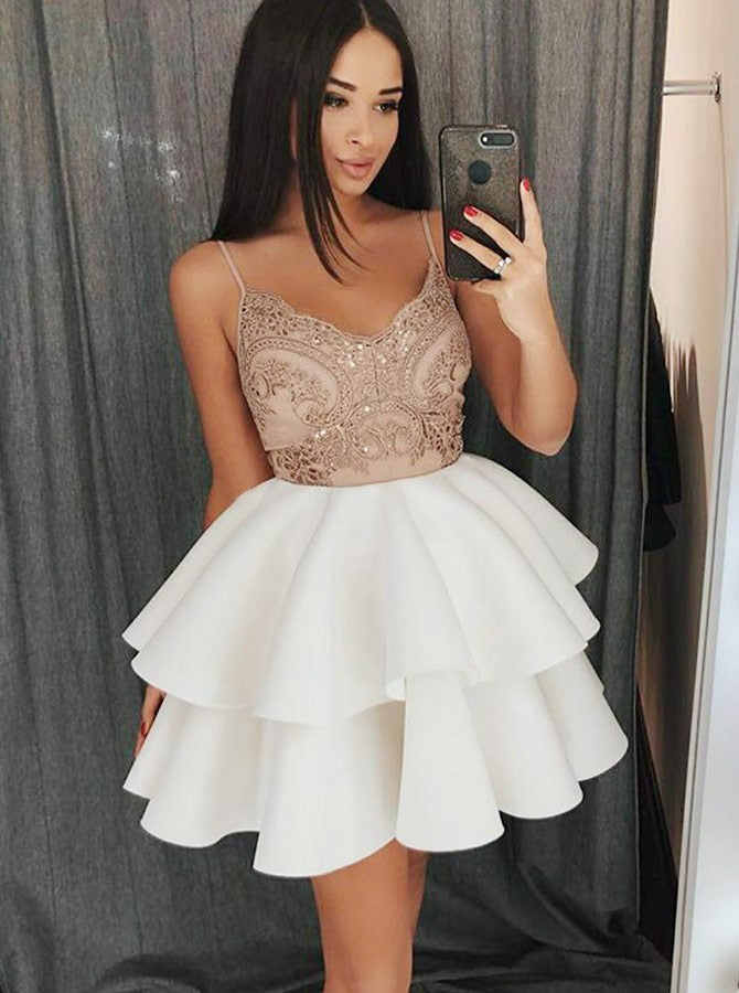 A-Line Spaghetti Straps Short White Tiered Homecoming Dress with Appliques|Amyprom