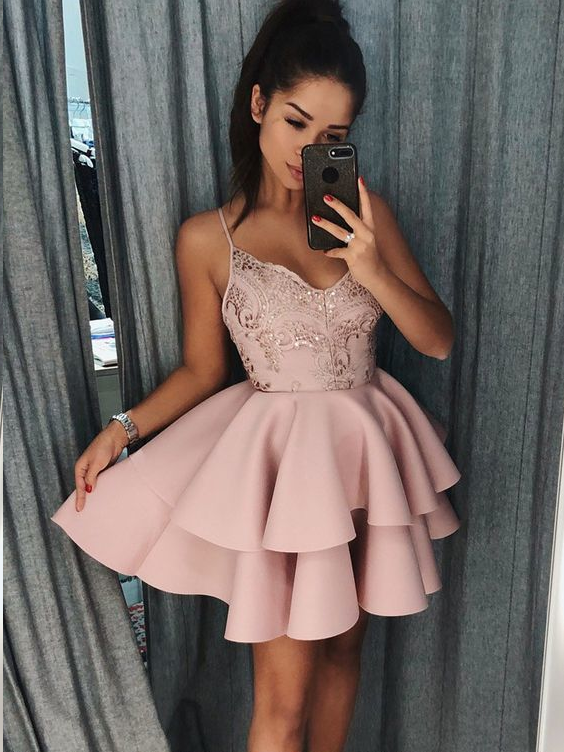 A-Line Spaghetti Straps Short Pink Tiered Homecoming Dress with Appliques|Amyprom